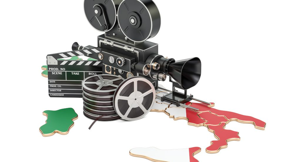 Italian cinematography, film industry concept. 3D rendering isolated on white background